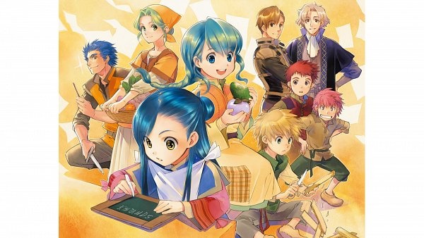 Tags: Anime, Shiina Yuu, Honzuki no Gekokujou, Gunther (Honzuki no Gekokujou), Eva (Honzuki no Gekokujou), Otto (Honzuki no Gekokujou), Turi (Honzuki No Gekokujou), Benno, Myne (Honzuki no Gekokujou), Lutz (Honzuki no Gekokujou), Novel Illustration, Official Art, Character Request, Ascendance Of A Bookworm: Stop At Nothing To Be A Librarian