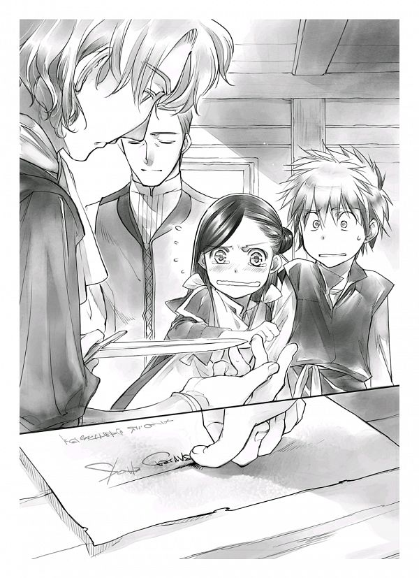 Tags: Anime, Shiina Yuu, Honzuki no Gekokujou, Benno, Lutz (Honzuki no Gekokujou), Myne (Honzuki no Gekokujou), Mark (Honzuki no Gekokujou), Official Art, Novel Illustration, Ascendance Of A Bookworm: Stop At Nothing To Be A Librarian