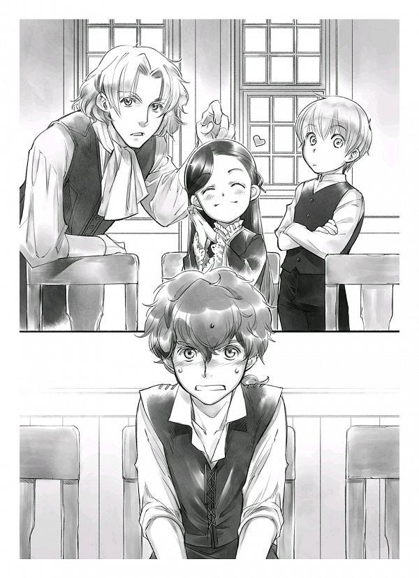 Tags: Anime, Shiina Yuu, Honzuki no Gekokujou, Johann, Benno, Lutz (Honzuki no Gekokujou), Myne (Honzuki no Gekokujou), Novel Illustration, Official Art, Ascendance Of A Bookworm: Stop At Nothing To Be A Librarian