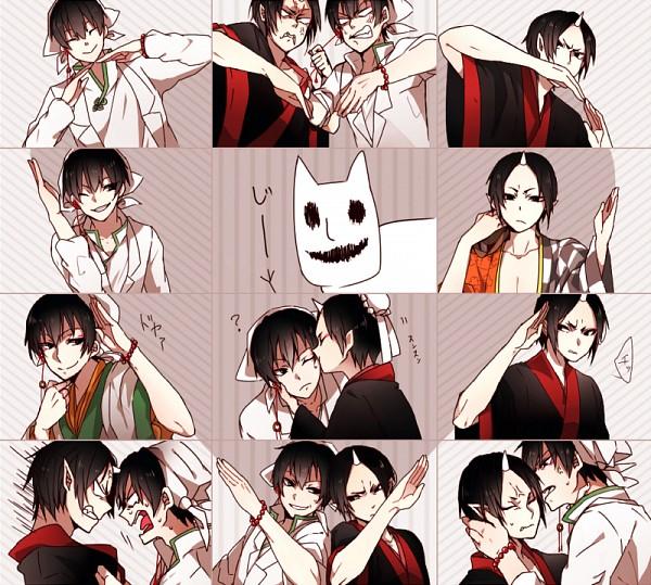 Tags: Anime, Pixiv Id 3022518, Hoozuki no Reitetsu, Hoozuki (Hoozuki no Reitetsu), Hakutaku (Hoozuki no Reitetsu), Heart Gesture Duo, Pixiv, Fanart, Hātotoresu, Fanart From Pixiv, Cool-headed Hoozuki