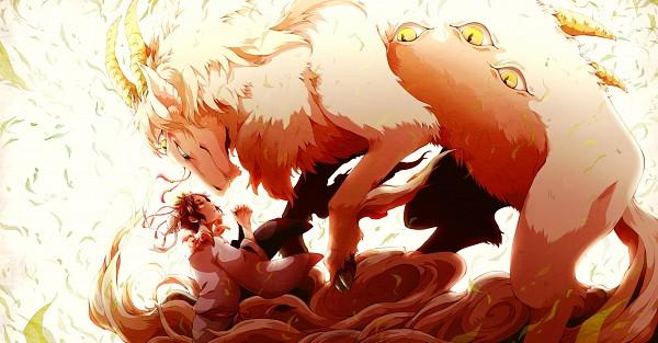 Tags: Anime, Gline, Hoozuki no Reitetsu, Hoozuki (Hoozuki no Reitetsu), Hakutaku (Creature Form), Hakutaku (Hoozuki no Reitetsu), Hakutaku, Pixiv, Wallpaper, Fanart From Pixiv, Fanart, Cool-headed Hoozuki