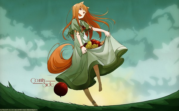 Tags: Anime, Ayakura Juu, Ookami to Koushinryou, Horo, Skirt Basket, Pear, Wallpaper