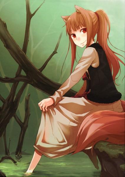 Tags: Anime, Ayakura Juu, Ookami to Koushinryou, Horo, Soaking Feet, Cliff, Mobile Wallpaper