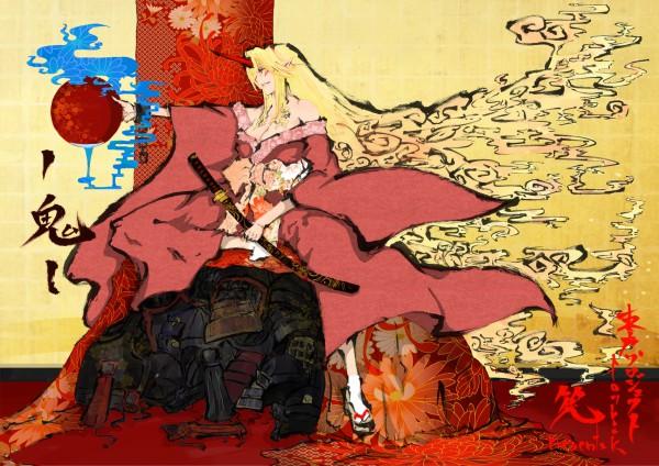Tags: Anime, Suminosaya, Touhou, Hoshiguma Yuugi, Nihonga, Yuugi Hoshiguma