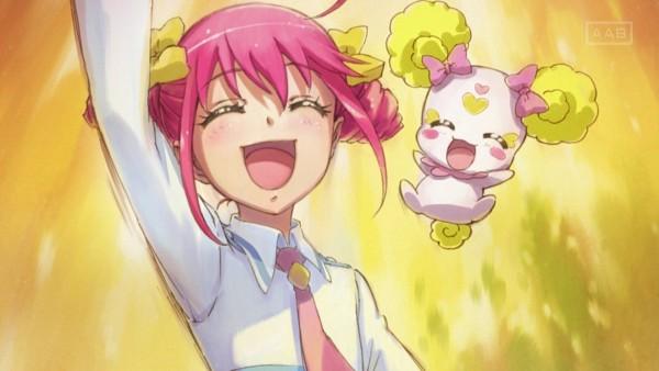 Tags: Anime, Smile Precure!, Hoshizora Miyuki, Candy (Smile Precure), Screenshot, Stitched Screenshot