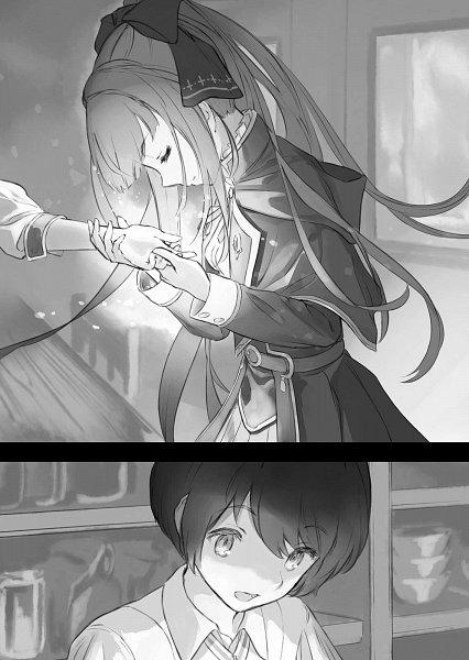 Tags: Anime, Supertie, Houkago wa Isekai Kissa de Coffee wo, Yuu (Houkago Wa Isekai Kissa De Coffee Wo), Linaria (Houkago Wa Isekai Kissa De Coffee Wo), Novel Illustration, Official Art