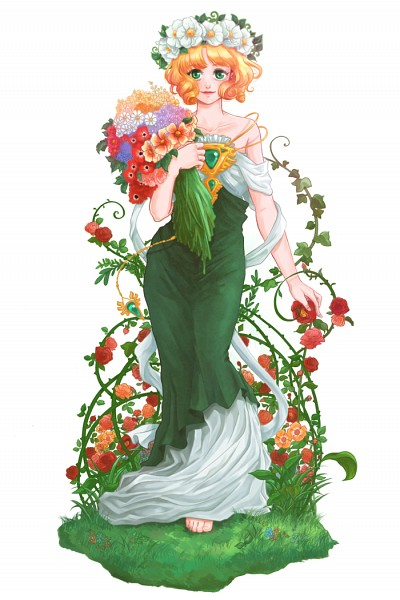 Tags: Anime, Ispan, Magic Knight Rayearth, Hououji Fuu, Poppy, Ivy, Anemone (Flower), Daisy (Flower), Fanart, Pixiv, Fanart From Pixiv