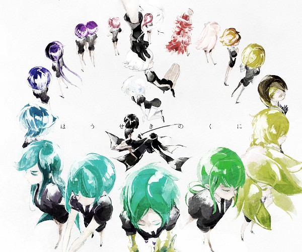 Tags: Anime, Pixiv Id 3554553, Houseki no Kuni, Sphene, Bort (Houseki no Kuni), Benitoite (Houseki no Kuni), Cinnabar (Houseki no Kuni), Rutile (Houseki no Kuni), Watermelon Tourmaline, Phosphophyllite (Houseki no Kuni), Neptunite (Houseki no Kuni), Goshenite (Houseki no Kuni), Yellow Diamond, Land Of The Lustrous