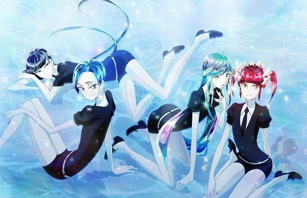 Tags: Anime, Orange (Studio), Houseki no Kuni, Benitoite (Houseki no Kuni), Neptunite (Houseki no Kuni), Red Beryl, Alexandrite (Houseki no Kuni), Official Art, Scan, Land Of The Lustrous