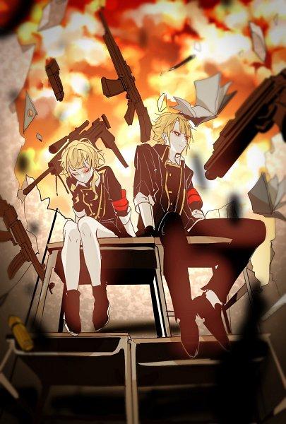 Tags: Anime, Yelshtea, VOCALOID, Azuma (Sekai Seifuku), Tsuji (Sekai Seifuku), Explosion, Sitting On Table, Stationery, Revolver, Protractor, Assault Rifle, Tumblr, Fanart, How To Dominate The World
