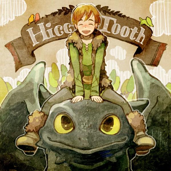 Tags: Anime, Utako (Maris), How to Train Your Dragon, Hiccup Horrendous Haddock III, Toothless, Banner, Pixiv, Fanart