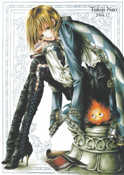 Tags: Anime, Tukiji Nao, Howl no Ugoku Shiro, Calcifer, Howl, Stationery, Doujinshi Cover, Fanart, Mobile Wallpaper
