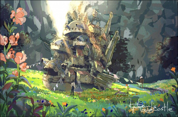 Tags: Anime, Gori Matsu, Howl no Ugoku Shiro, Markl, Witch of the Waste, Howl, Heen, Sophie Hatter, Laundry, Fanart, Fanart From Pixiv, Pixiv, Howl's Moving Castle