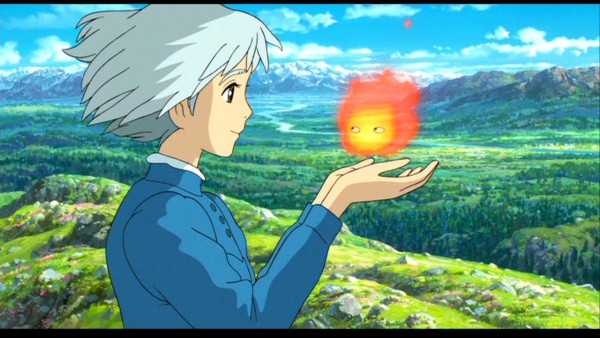 Tags: Anime, Studio Ghibli, Howl no Ugoku Shiro, Sophie Hatter, Calcifer, Screenshot, Wallpaper, Facebook Cover, Howl's Moving Castle