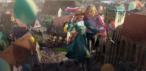 Tags: Anime, Pixiv Id 17952229, Howl no Ugoku Shiro, Howl, Sophie Hatter, Fountain, Scene Reference, Yellow Hat, Yellow Headwear, Crowd, Fanart, Pixiv, Fanart From Pixiv, Howl's Moving Castle