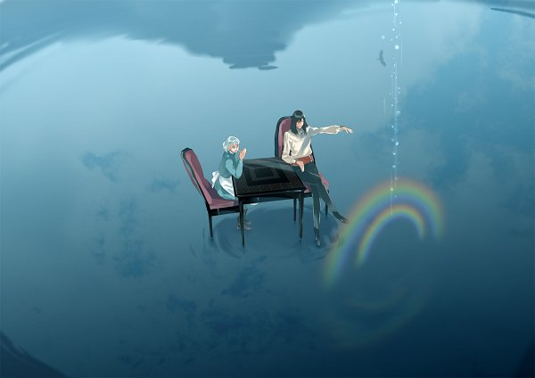 Tags: Anime, Kamoji, Studio Ghibli, Howl no Ugoku Shiro, Sophie Hatter, Howl, Lake, Fanart, Pixiv, Howl's Moving Castle