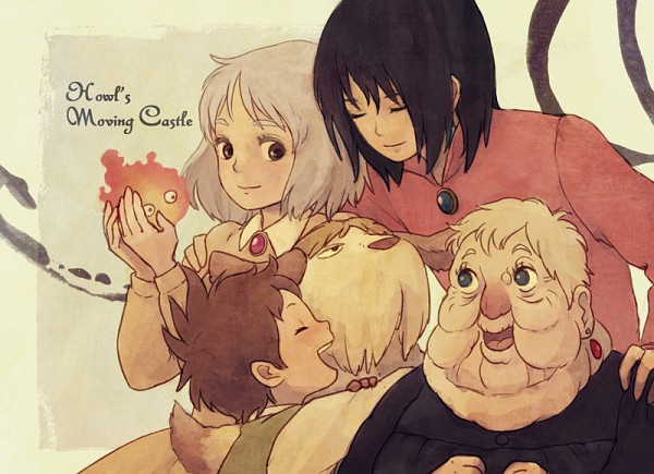 Tags: Anime, Itoko, Studio Ghibli, Howl no Ugoku Shiro, Markl, Heen, Howl, Sophie Hatter, Calcifer, Witch of the Waste, Fanart, Pixiv, Howl's Moving Castle