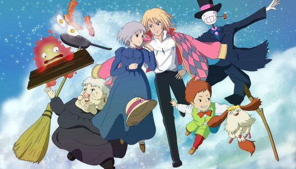 Tags: Anime, Saku (Pixiv 317810), Studio Ghibli, Howl no Ugoku Shiro, Markl, Sophie Hatter, Howl, Witch of the Waste, Heen, Calcifer, Turnip Head, Scarecrow, Cooking Pan, Howl's Moving Castle
