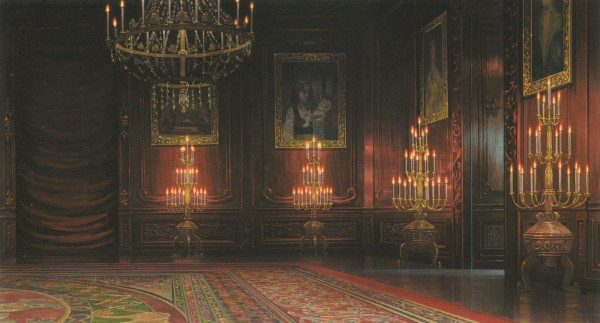 Tags: Anime, Studio Ghibli, Howl no Ugoku Shiro, Still Life, Rug, Chandelier, Roomscape, Official Art, Scan, Facebook Cover, Howl's Moving Castle
