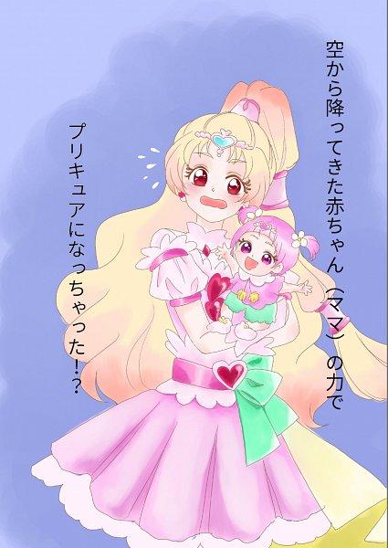 Tags: Anime, Pixiv Id 3726698, HUGtto! Precure, Hug-tan, Nono Hana, Cure Tomorrow, Holding Baby, Pixiv, Fanart, Fanart From Pixiv