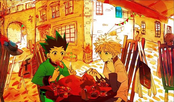 Tags: Anime, Karako / 唐子, Hunter x Hunter, Gon Freaks, Killua Zoldyck, Leorio Paladiknight, Fishing Rod, Map, Restaurant, Fanart, Fanart From Pixiv, Pixiv