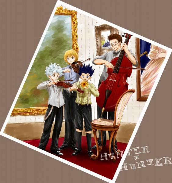 Tags: Anime, Si Sya Mo, Hunter x Hunter, Kurapika, Killua Zoldyck, Leorio Paladiknight, Gon Freaks, Cello, Painting (Object), Trumpet, Fanart, Pixiv