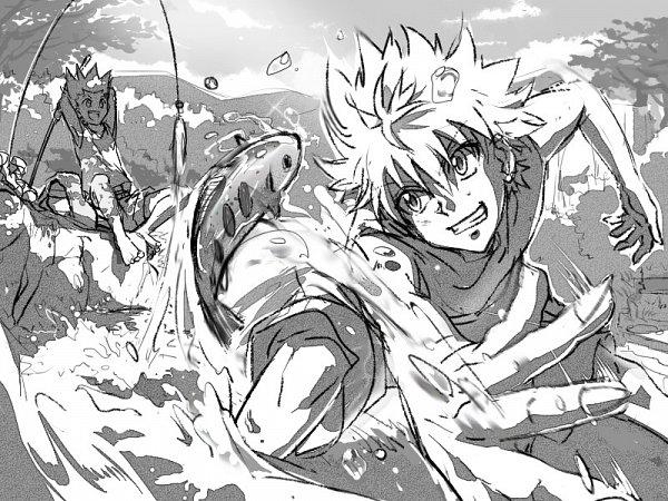 Tags: Anime, Hunter x Hunter, Gon Freaks, Killua Zoldyck, Fishing, Artist Request