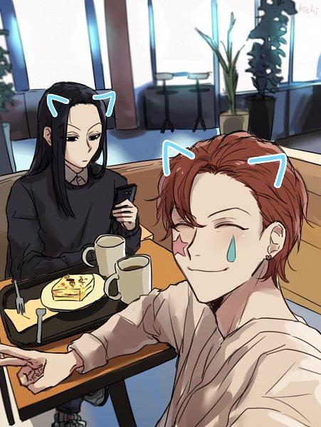 Tags: Anime, Pixiv Id 17619900, Hunter x Hunter, Illumi Zoldyk, Hisoka, Holding Phone, Pixiv, Hisoillumi