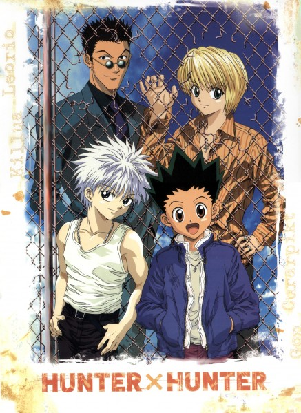Tags: Anime, Hunter x Hunter, Kurapika, Killua Zoldyck, Leorio Paladiknight, Gon Freaks, Chain Link Fence, Mobile Wallpaper, Official Art