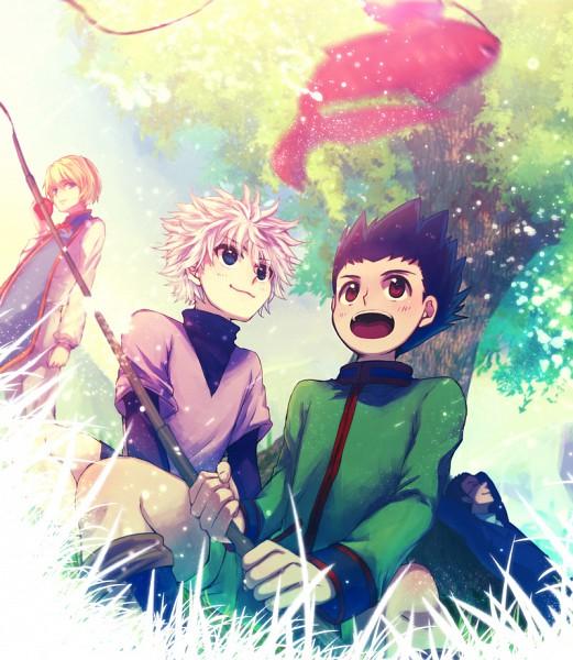 Tags: Anime, Pixiv Id 346955, Hunter x Hunter, Gon Freaks, Kurapika, Killua Zoldyck, Leorio Paladiknight, Fishing, Under A Tree, Fishing Rod, Fanart
