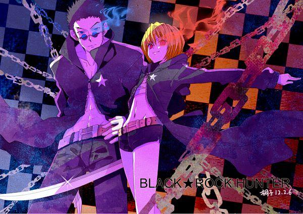 Tags: Anime, Pixiv Id 999828, Hunter x Hunter, Kurapika, Leorio Paladiknight, Black★Rock Shooter (Cosplay), Fiery Eyes, Lens Flare, Fanart, Pixiv