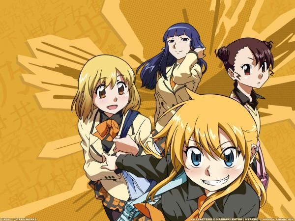 Tags: Anime, Hyakko, Nonomura Ayumi, Kageyama Torako, Saotome Suzume, Iizuka Tatsuki, Wallpaper