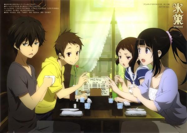 Tags: Anime, Makita Masaya, Hyouka, Ibara Mayaka, Fukube Satoshi, Chitanda Eru, Oreki Houtarou, Magazine (Source), Scan