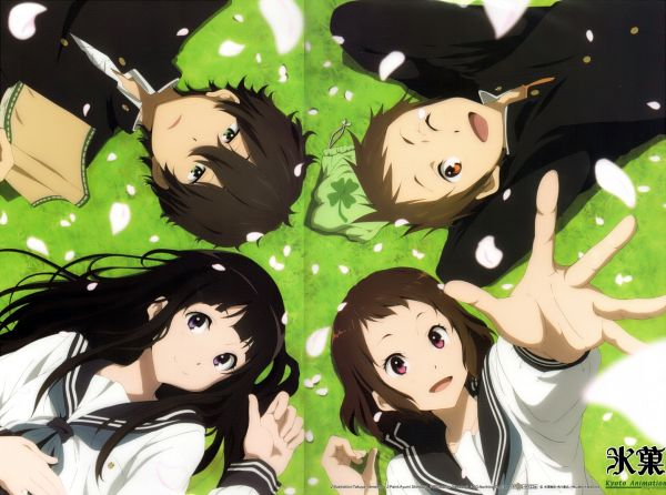 Tags: Anime, Yamamura Takuya, Kyoto Animation, Hyouka, Fukube Satoshi, Chitanda Eru, Oreki Houtarou, Ibara Mayaka, Laying in Circle, Laying on Grass, Official Art, Scan