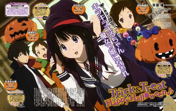 Tags: Anime, Kyoto Animation, Hyouka, Fukube Satoshi, Chitanda Eru, Oreki Houtarou, Ibara Mayaka, Scan, Official Art