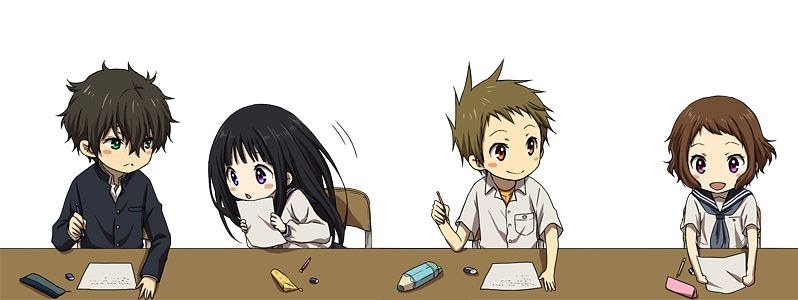 Tags: Anime, Rito, Hyouka, Fukube Satoshi, Chitanda Eru, Oreki Houtarou, Ibara Mayaka, Pencil Case, Facebook Cover