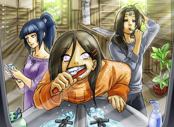 Tags: Anime, Byakuganlove, NARUTO, Hyuuga Neji, Hyuuga Hinata, Hyuuga Hanabi, Toothbrushing, Toothbrush, Brush, Cousins, Toothpaste, Hair Brushing, Sink