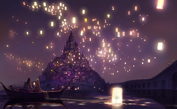 Tags: Anime, Pixiv Id 97152, Rapunzel, Tangled (Disney), Flynn Rider (Eugene Fitzherbert), Rapunzel (Tangled), Rapunzel (Character), Sky Lanterns, Boat, Paper Lantern, I See The Light, Pixiv