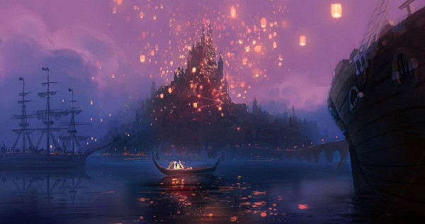 Tags: Anime, Disney, Rapunzel, Tangled (Disney), Rapunzel (Character), Rapunzel (Tangled), Boat, Sky Lanterns, Paper Lantern, I See The Light, Facebook Cover, Artist Request