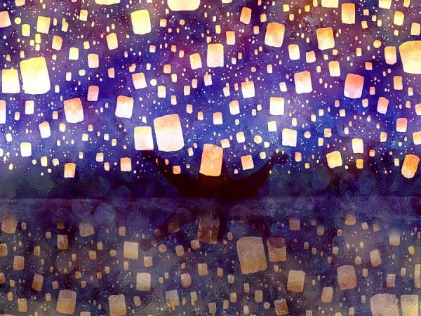 Tags: Anime, Pixiv Id 737712, Rapunzel, Tangled (Disney), Rapunzel (Character), Rapunzel (Tangled), Boat, Sky Lanterns, Paper Lantern, I See The Light, Disney