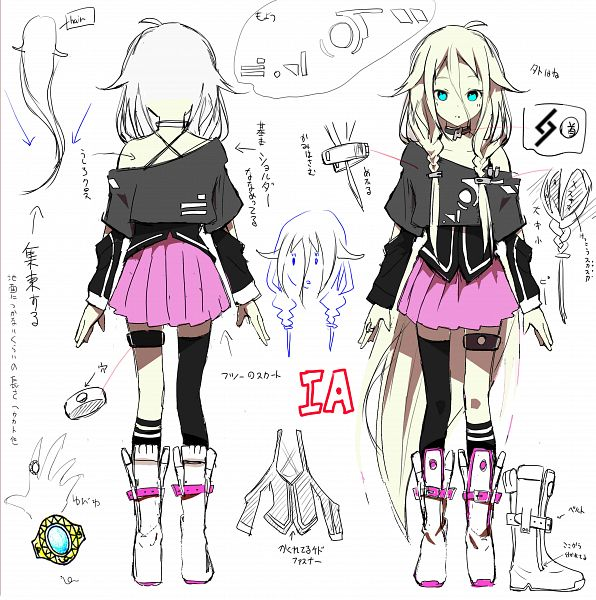 Tags: Anime, Akasaka Aka, VOCALOID, IA, Sketch, Fanart From Pixiv, Fanart, Pixiv, Character Sheet