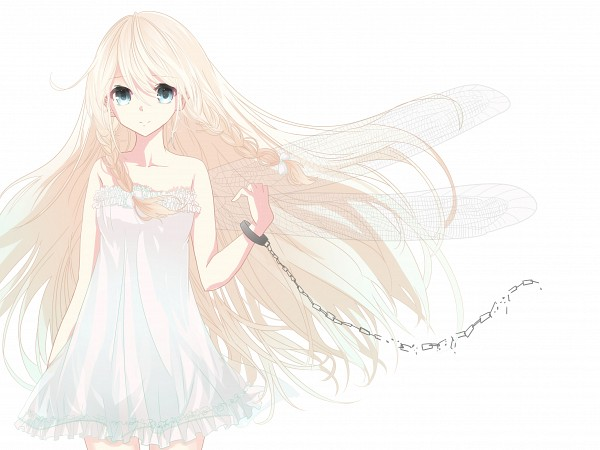 Tags: Anime, Pixiv Id 1911979, VOCALOID, IA, Shackles, White, One Wing, Transparent Wings, Fanart From Pixiv, PNG Conversion, Fanart, Pixiv