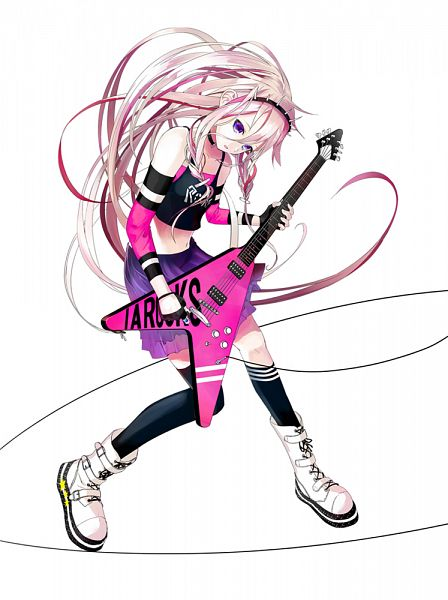 Tags: Anime, Akasaka Aka, VOCALOID, IA, Buckle Boots, Single Knee High Sock, Star Print, Electric Guitar, Mobile Wallpaper, Official Art