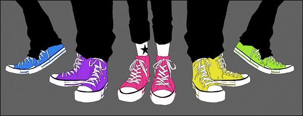 Tags: Anime, IBUKI (Carol), COLORFUL5, Takanashi Haruka, Sasaki Souta, Ijuin Rei, Hinohara Kanade, Chucks (Shoes), Converse, Tsuchiya Masaki, Green Footwear, Yellow Footwear, PNG Conversion