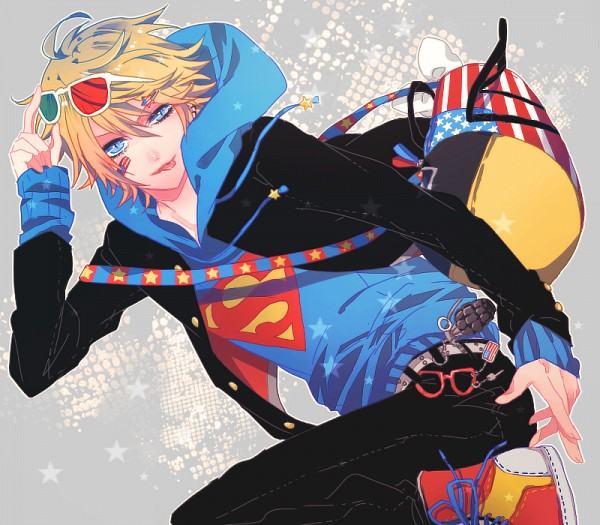 Tags: Anime, IBUKI (Carol), 3D Glasses, Star Print, Bandaged Cheek, Grenade, Pixiv, Original