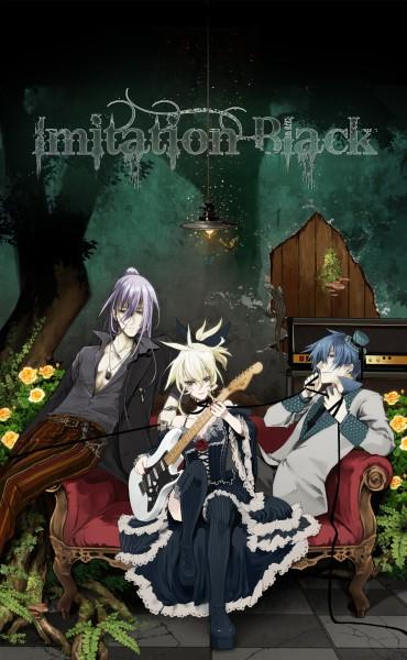 Tags: Anime, VOCALOID, KAITO, Kagamine Len, Kamui Gakupo, Playing Guitar, Artist Request, IMITATION BLACK, Mobile Wallpaper, VanaN'Ice