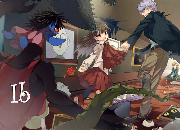 Tags: Anime, Circa, Ib, Ib (Character), Garry, Death of the Individual, Blue Doll, Mary (Ib), Running Away, Fanart From Pixiv, Pixiv, Fanart