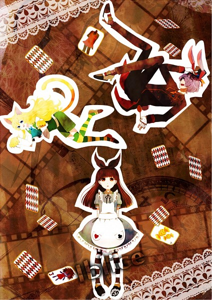 Tags: Anime, Pixiv Id 2429147, Ib, Mary (Ib), Ib (Character), Garry, Cheshire Cat (Cosplay), White Rabbit (Cosplay), Alice (Alice in Wonderland) (Cosplay), Pixiv, Fanart From Pixiv, Fanart, PNG Conversion