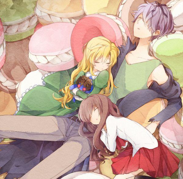 Tags: Anime, Juugonichi, Ib, Blue Doll, Mary (Ib), Ib (Character), Garry, Hugging Toy, Fanart, Fanart From Pixiv, Pixiv