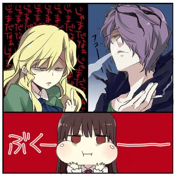 Tags: Anime, Nakayama Miyuki, Ib, Mary (Ib), Ib (Character), Garry, Puffed Out Cheeks, Fanart From Pixiv, Translation Request, Pixiv, Fanart
